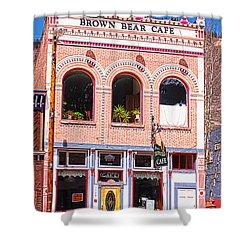 Brown Bear Cafe Silverton Colorado Shower Curtain by Janice Rae Pariza