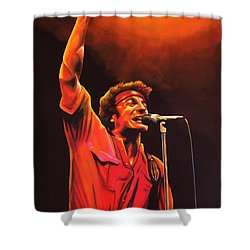 Bruce Springsteen Painting Shower Curtain by Paul Meijering