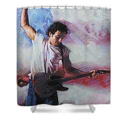 Bruce Springsteen The Boss Shower Curtain by Viola El