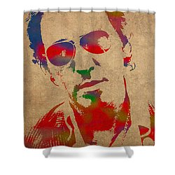 Bruce Springsteen Watercolor Portrait On Worn Distressed Canvas Shower Curtain by Design Turnpike