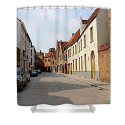 Bruges Side Street Shower Curtain by Carol Groenen