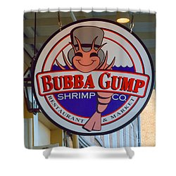 Bubba Gump Shrimp Sign Shower Curtain by Alys Caviness-Gober