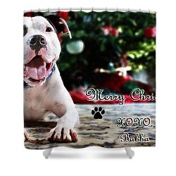 Bubba's First Christmas Shower Curtain by Shelley Neff