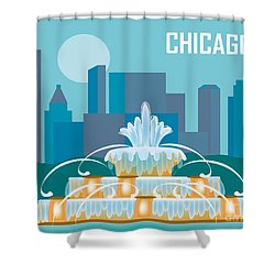 Buckingham Fountain Chicago Shower Curtain by Karen Young