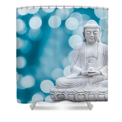 Buddha Enlightenment Blue Shower Curtain by Hannes Cmarits
