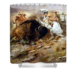 Buffalo Hunt Shower Curtain by Charles Russell