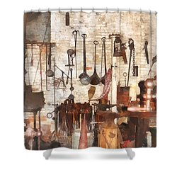 Building Trades - Hand Tools In Machine Shop Shower Curtain by Susan Savad
