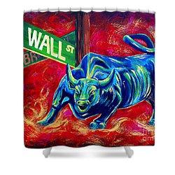 Bull Market Shower Curtain by Teshia Art
