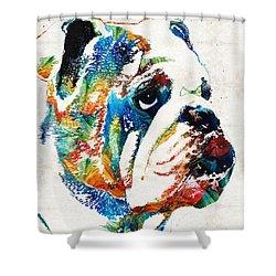 Bulldog Pop Art - How Bout A Kiss - By Sharon Cummings Shower Curtain by Sharon Cummings