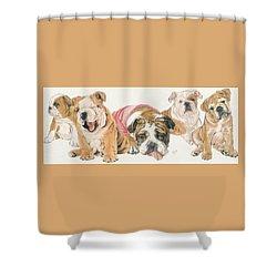 Bulldog Puppies Shower Curtain by Barbara Keith