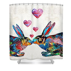 Bunny Rabbit Art - Hopped Up On Love - By Sharon Cummings Shower Curtain by Sharon Cummings