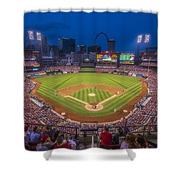 Busch Stadium St. Louis Cardinals Night Game Shower Curtain by David Haskett