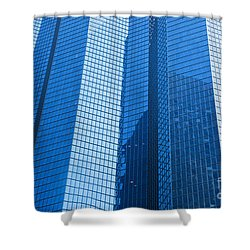 Business Skyscrapers Modern Architecture In Blue Tint Shower Curtain by Michal Bednarek