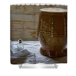 Butter Makers Crock And Salt Shower Curtain by Nikolyn McDonald