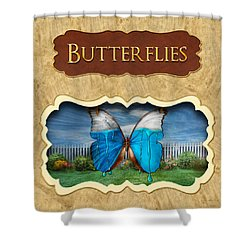 Butterflies Button Shower Curtain by Mike Savad