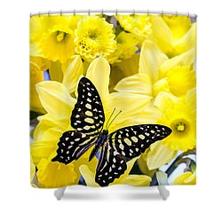 Butterfly Among The Daffodils Shower Curtain by Edward Fielding