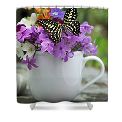 Butterfly And Wildflowers Shower Curtain by Edward Fielding