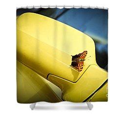 Butterfly On Sports Car Mirror Shower Curtain by Elena Elisseeva