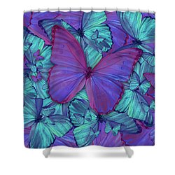 Butterfly Radial Violetmorpheus Shower Curtain by Alixandra Mullins