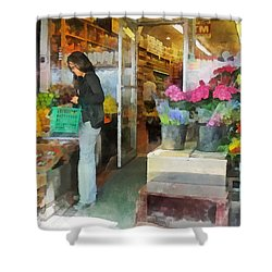 Buying Fresh Fruit Shower Curtain by Susan Savad