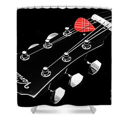 Bw Head Stock With Red Pick  Shower Curtain by Andee Design