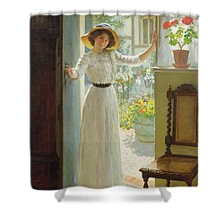 By The Cottage Door Shower Curtain by William Henry Margetson