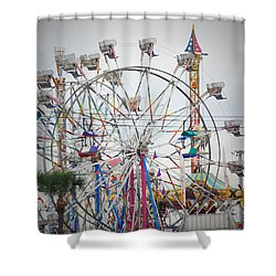 Cables Wires And Wheels Oh Boy Shower Curtain by Judy Hall-Folde