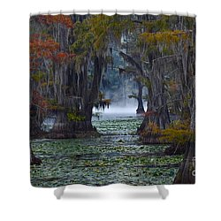 Caddo Lake Morning Shower Curtain by Snow White