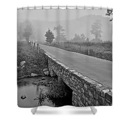 Cades Cove Black And White Shower Curtain by Frozen in Time Fine Art Photography