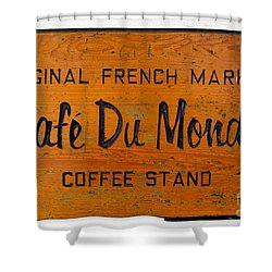 Cafe Du Monde Sign In New Orleans Louisiana Shower Curtain by Paul Velgos
