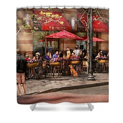 Cafe - Hoboken Nj - Cafe Trinity  Shower Curtain by Mike Savad
