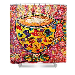 Cafe Latte - Coffee Cup With Colorful Coffee Cups Some Pink And Bubbles  Shower Curtain by Ana Maria Edulescu