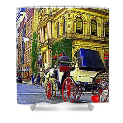 Caleche Ride By The Hotel Le St James Vieux Port Montreal Old World Charm And Elegance C Spandau Art Shower Curtain by Carole Spandau