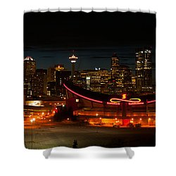 Calgary At Night Shower Curtain by Guy Whiteley