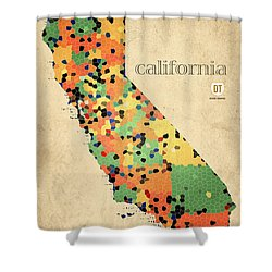 California Map Crystalized Counties On Worn Canvas By Design Turnpike Shower Curtain by Design Turnpike
