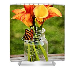 Calla's And The Butterfly Shower Curtain by Darren Fisher