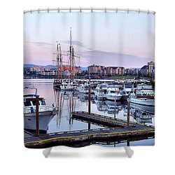 Calm In The Harbour Shower Curtain by Jenny Hudson
