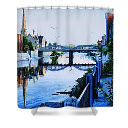 Cambridge Summer Morning Shower Curtain by Hanne Lore Koehler