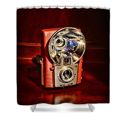 Camera - Vintage Brownie Starflash Shower Curtain by Paul Ward