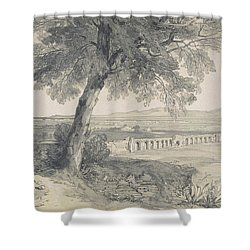 Campagna Of Rome From Villa Mattei Shower Curtain by Edward Lear