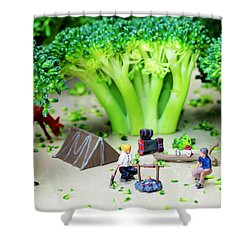 Camping Among Broccoli Jungles Miniature Art Shower Curtain by Paul Ge