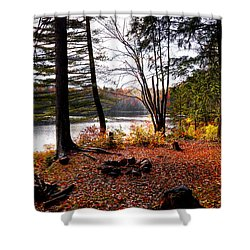 Campsite On Cary Lake Shower Curtain by David Patterson