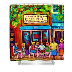 Canadian Artists Montreal Paintings Cosmos Restaurant Sherbrooke Street West Sidewalk Cafe Scene Shower Curtain by Carole Spandau