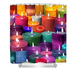 Candles Rainbow Colours Shower Curtain by Alixandra Mullins
