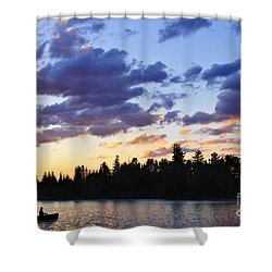 Canoeing At Sunset Shower Curtain by Elena Elisseeva