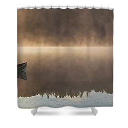 Canoeist On A Golden Misty Morning Shower Curtain by Barbara McMahon