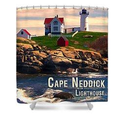 Cape Neddick Lighthouse  At Sunset  Shower Curtain by Elaine Plesser