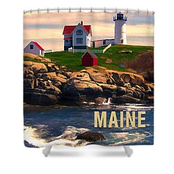 Cape Neddick Lighthouse Maine  At Sunset  Shower Curtain by Elaine Plesser