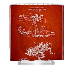 Capps Machine Gun Patent Drawing From 1899 - Red Shower Curtain by Aged Pixel