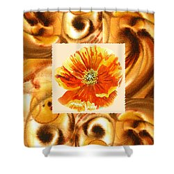 Cappuccino Abstract Collage Poppy Shower Curtain by Irina Sztukowski
